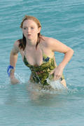 Lily Cole - wearing a swimsuit on a yacht in St. Barts 01/01/13